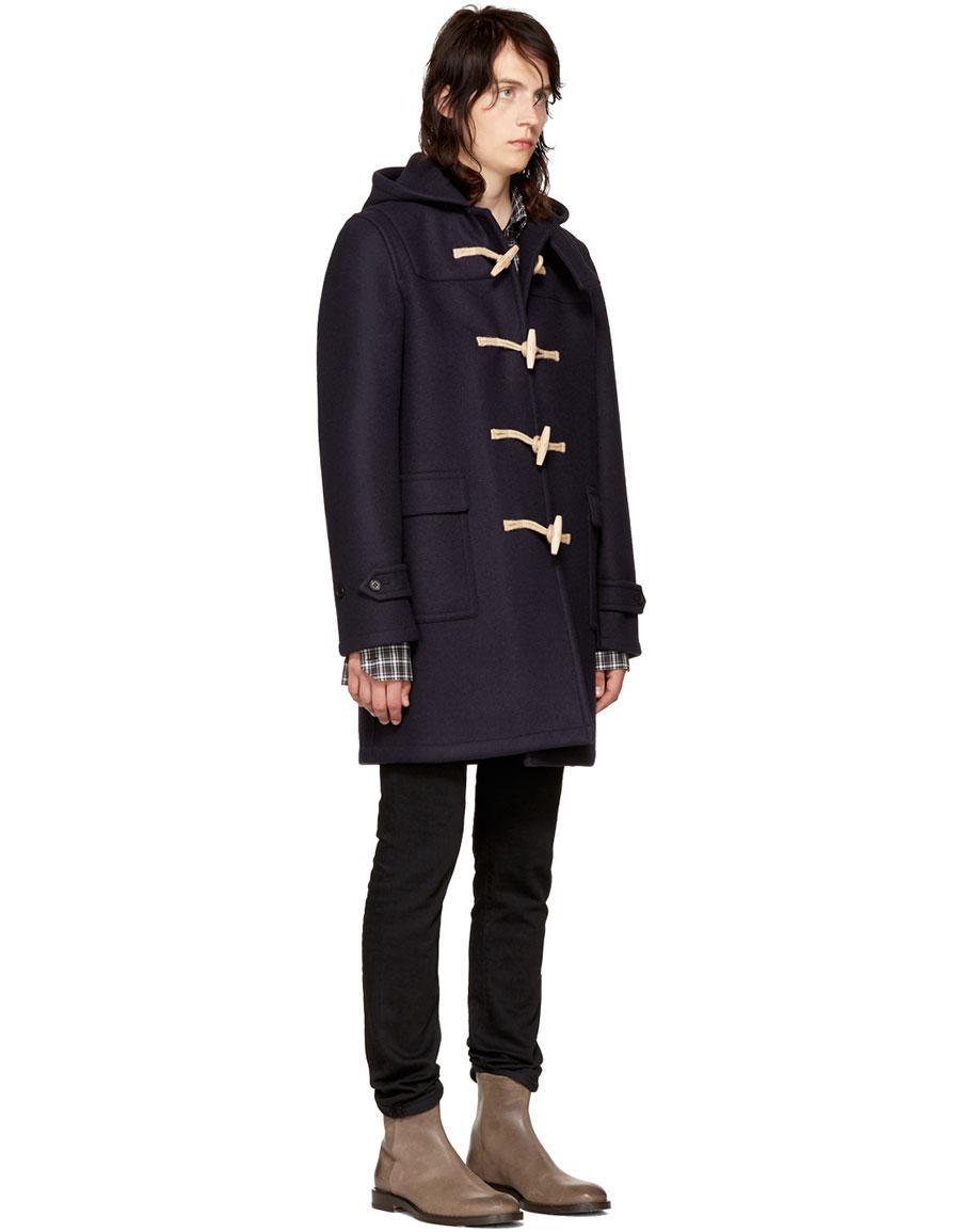 SAINT LAURENT Navy Wool Duffle Coat