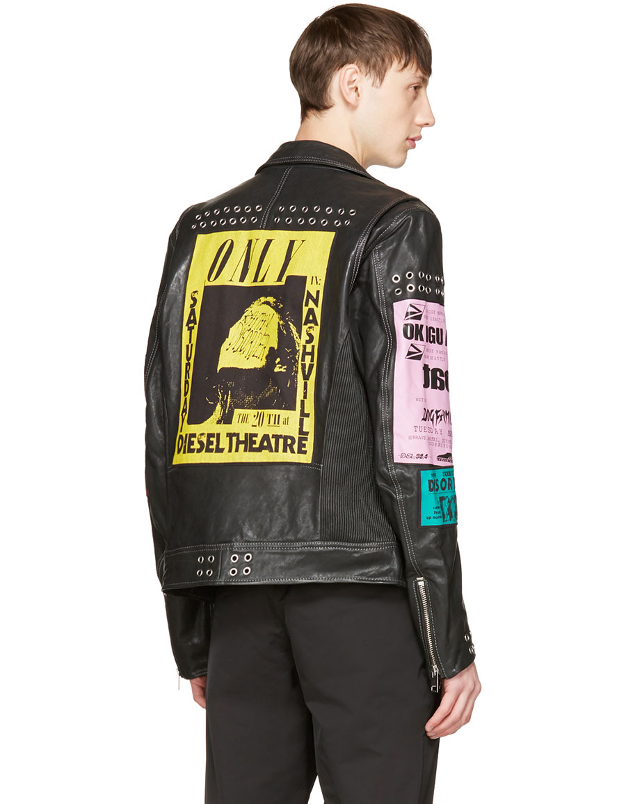 DIESEL Black Leather L Hater Ed Jacket