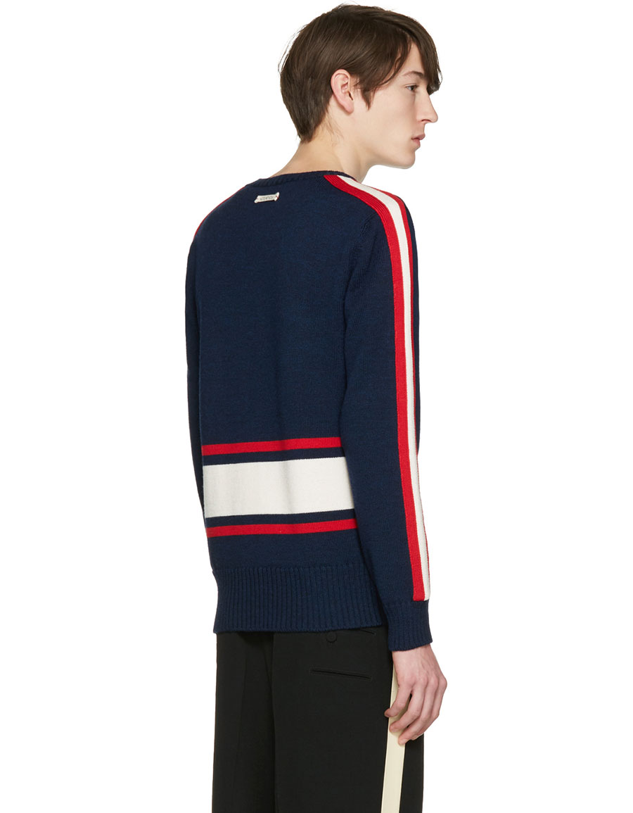 GUCCI Navy 'Blind for Love' Tiger Sweater
