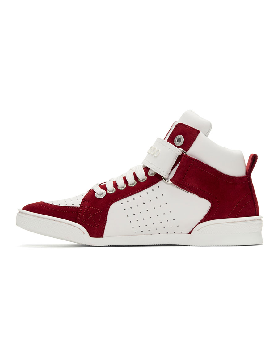 JIMMY CHOO White & Red Lewis High Top Sneakers