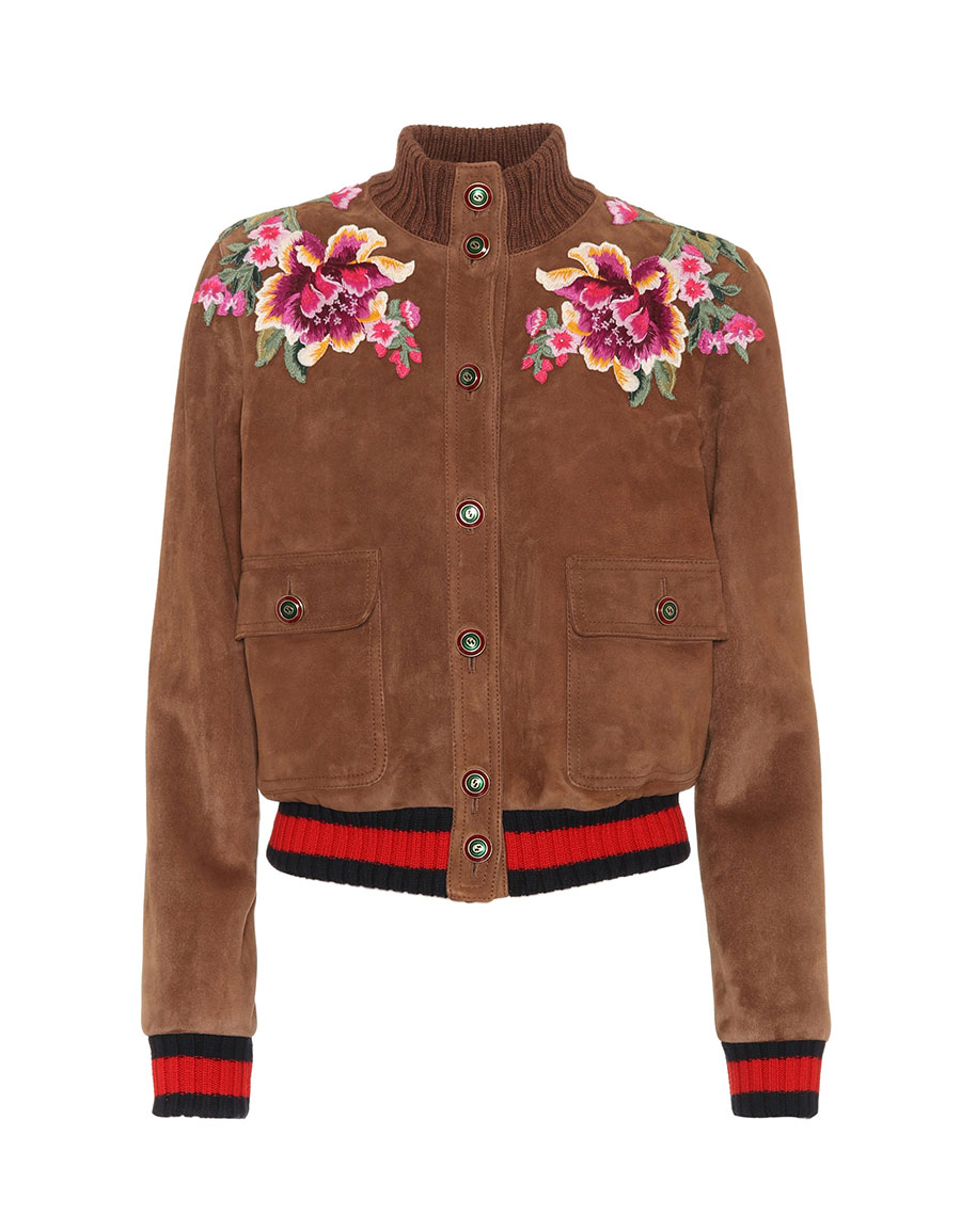 GUCCI Embroidered suede jacket