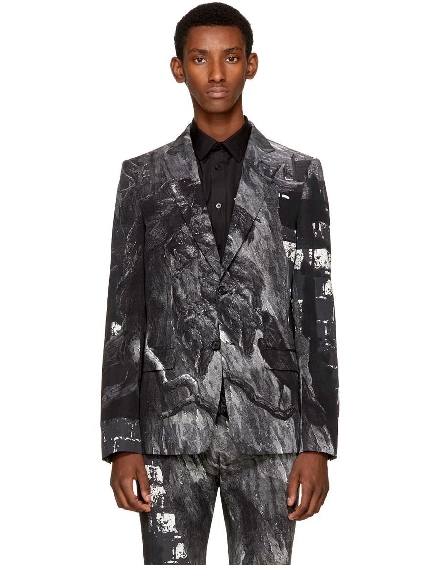 ALEXANDER MCQUEEN Black & White Bird Blazer