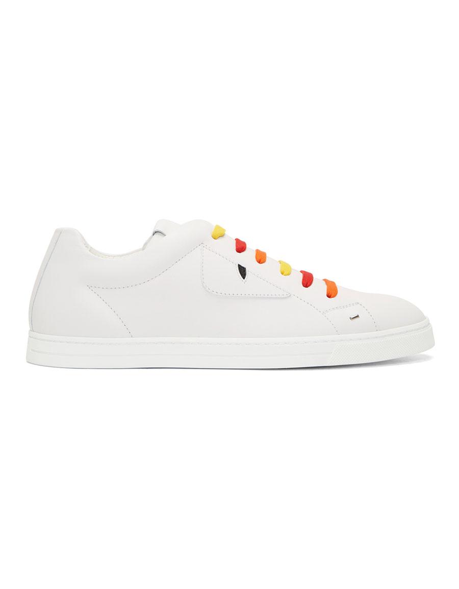 FENDI White & Multicolor 'Bag Bugs' Sneakers