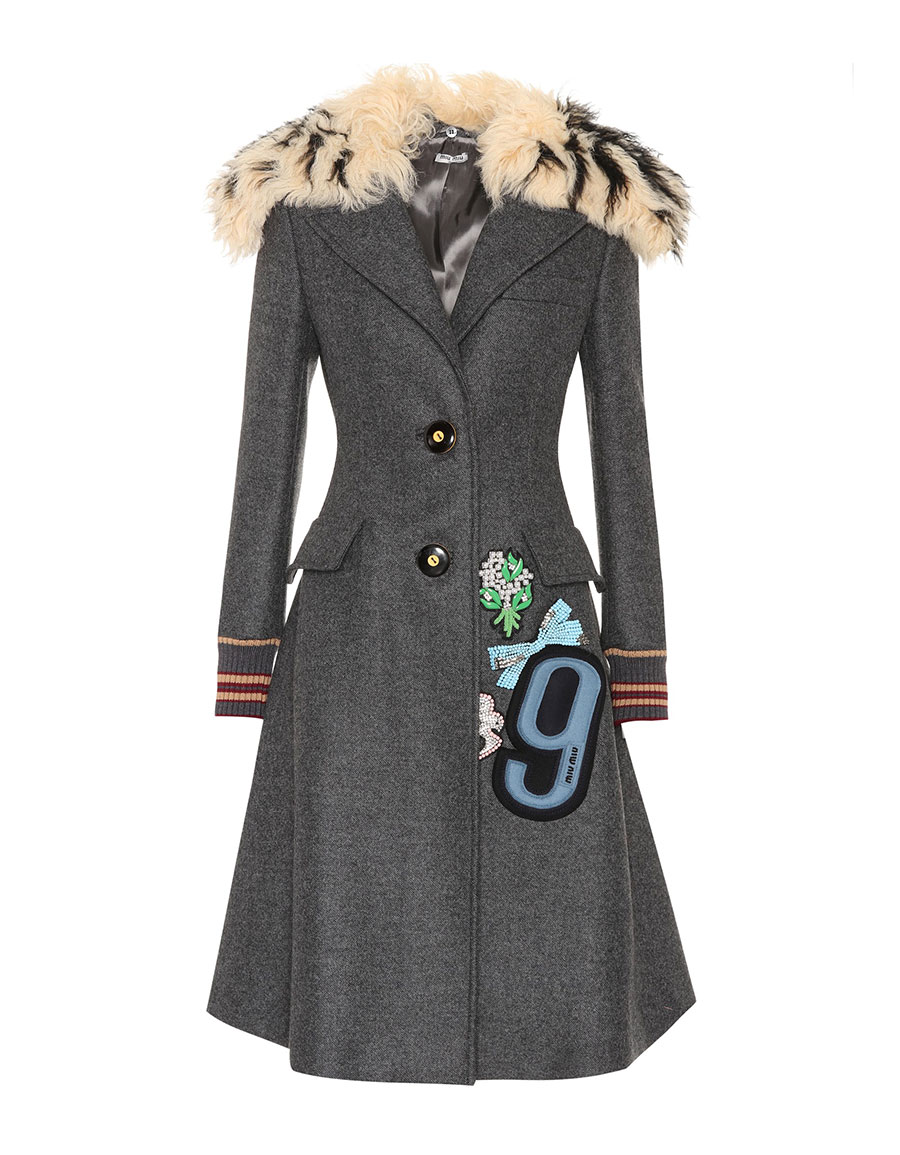 MIU MIU Fur trimmed embellished wool coat