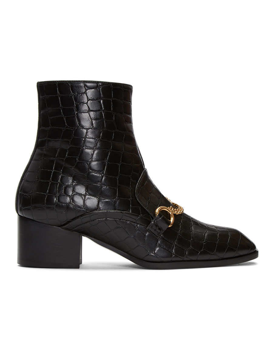 STELLA MCCARTNEY Black Croc Embossed Chain Boots