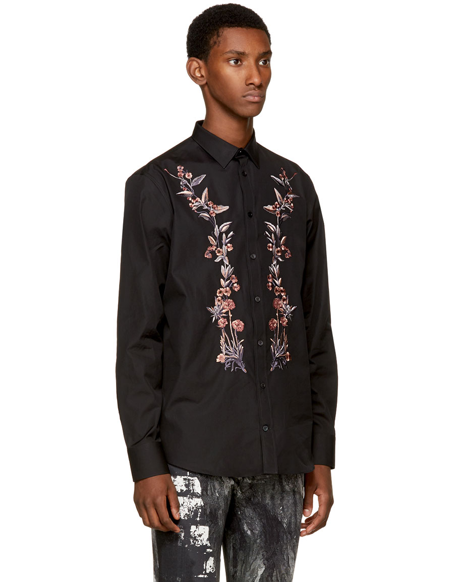 ALEXANDER MCQUEEN Black Embroidered Floral Shirt