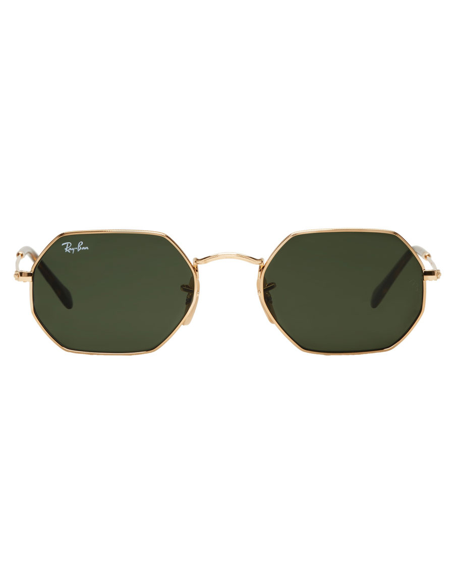 RAY BAN Gold Octagonal Flat Sunglasses