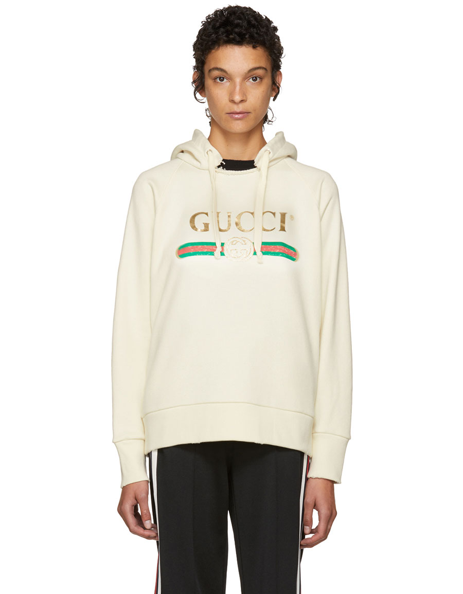 best sale new list sale retailer GUCCI, White Oversized Vintage 'Blind For Love' Hoodie