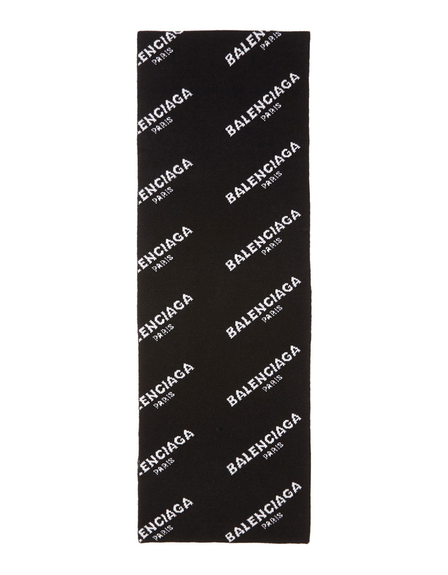 BALENCIAGA Black All Over Logo Scarf