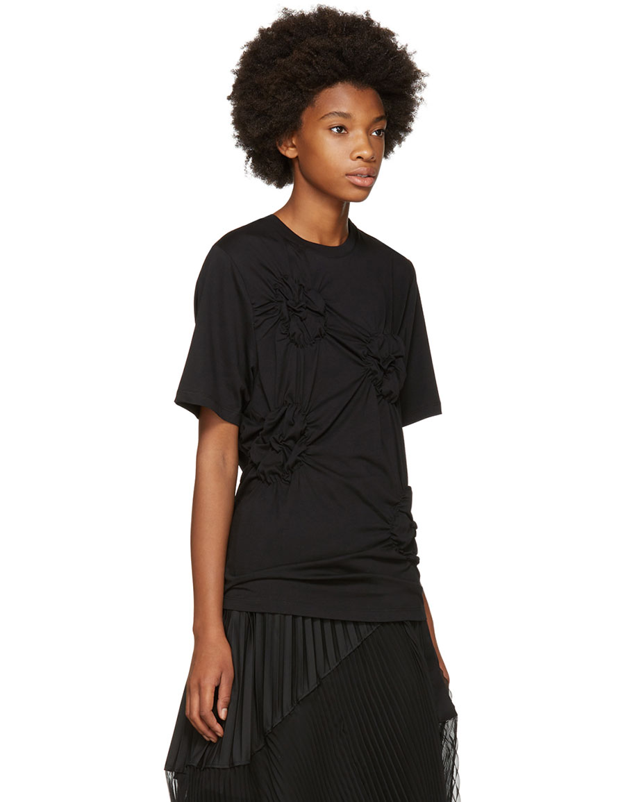SIMONE ROCHA Black Smocked Flower T Shirt