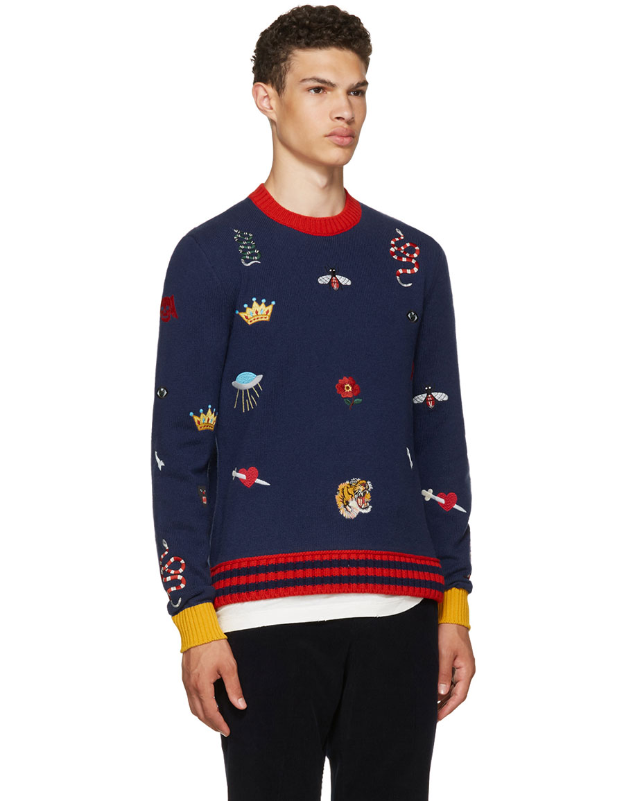 GUCCI Navy Embroidered Sweater