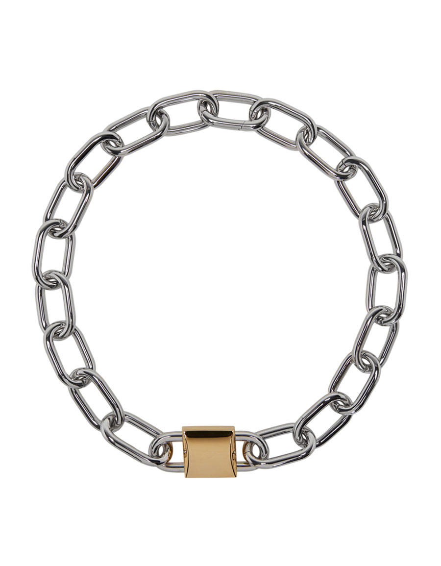 ALEXANDER WANG Silver & Gold Double Lock Necklace