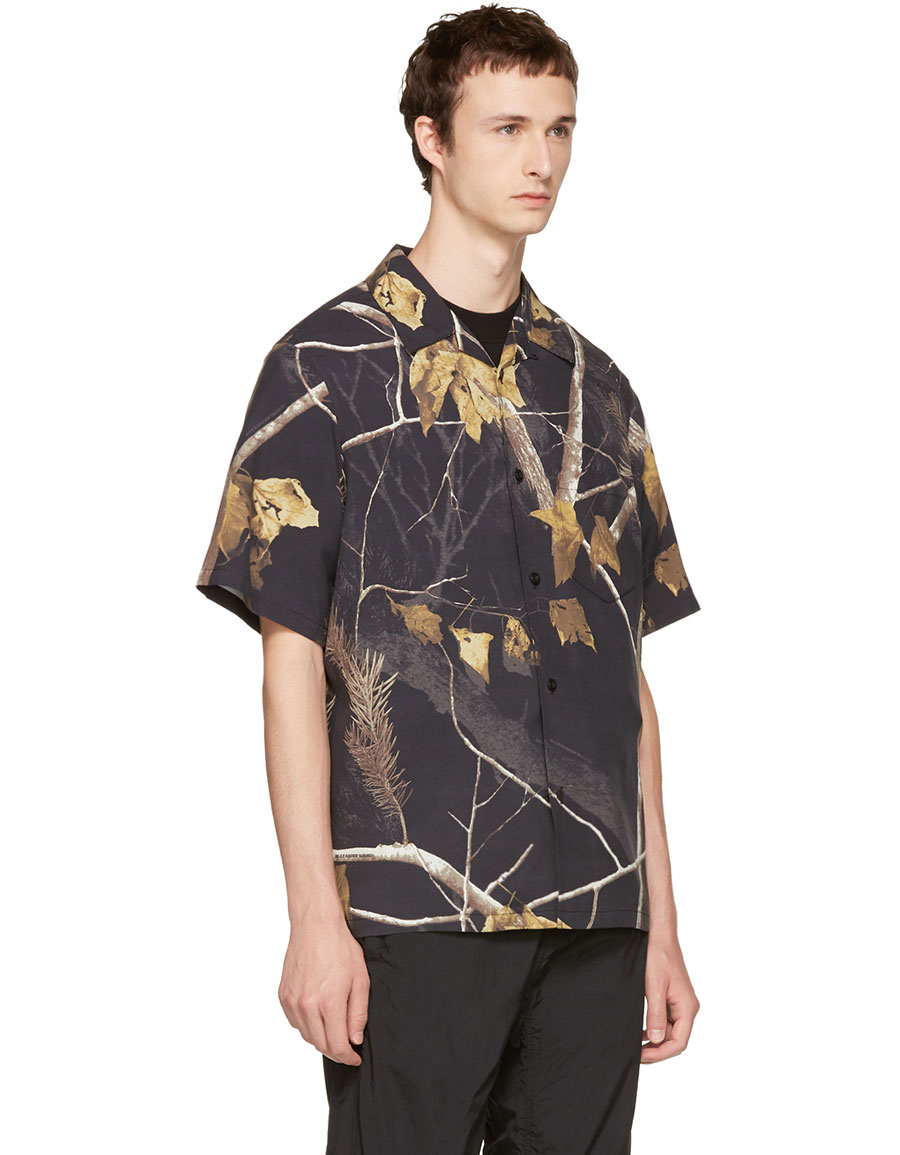 ALEXANDER WANG Black Winter Camo Hawaiian Shirt