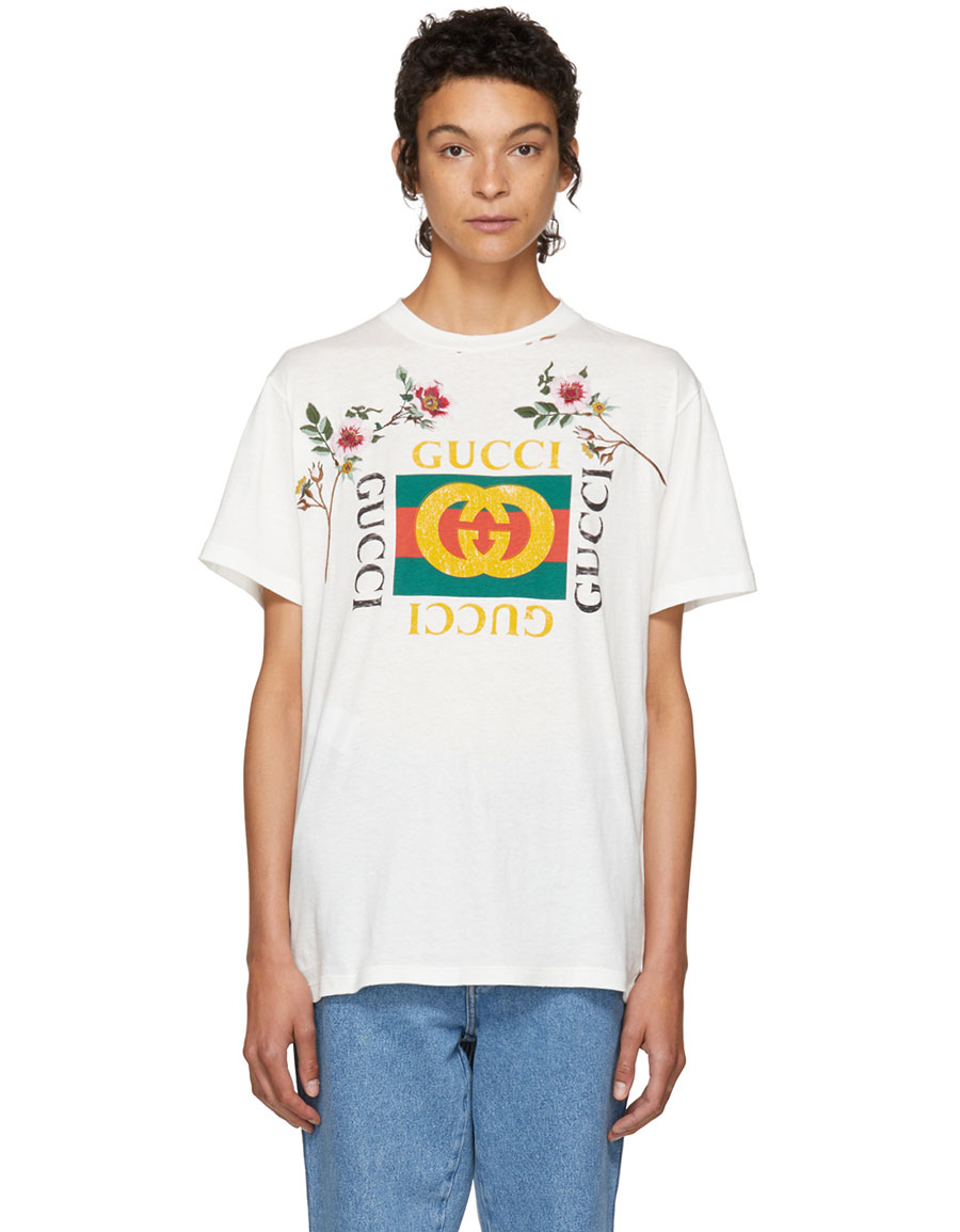 GUCCI White Floral Logo T Shirt