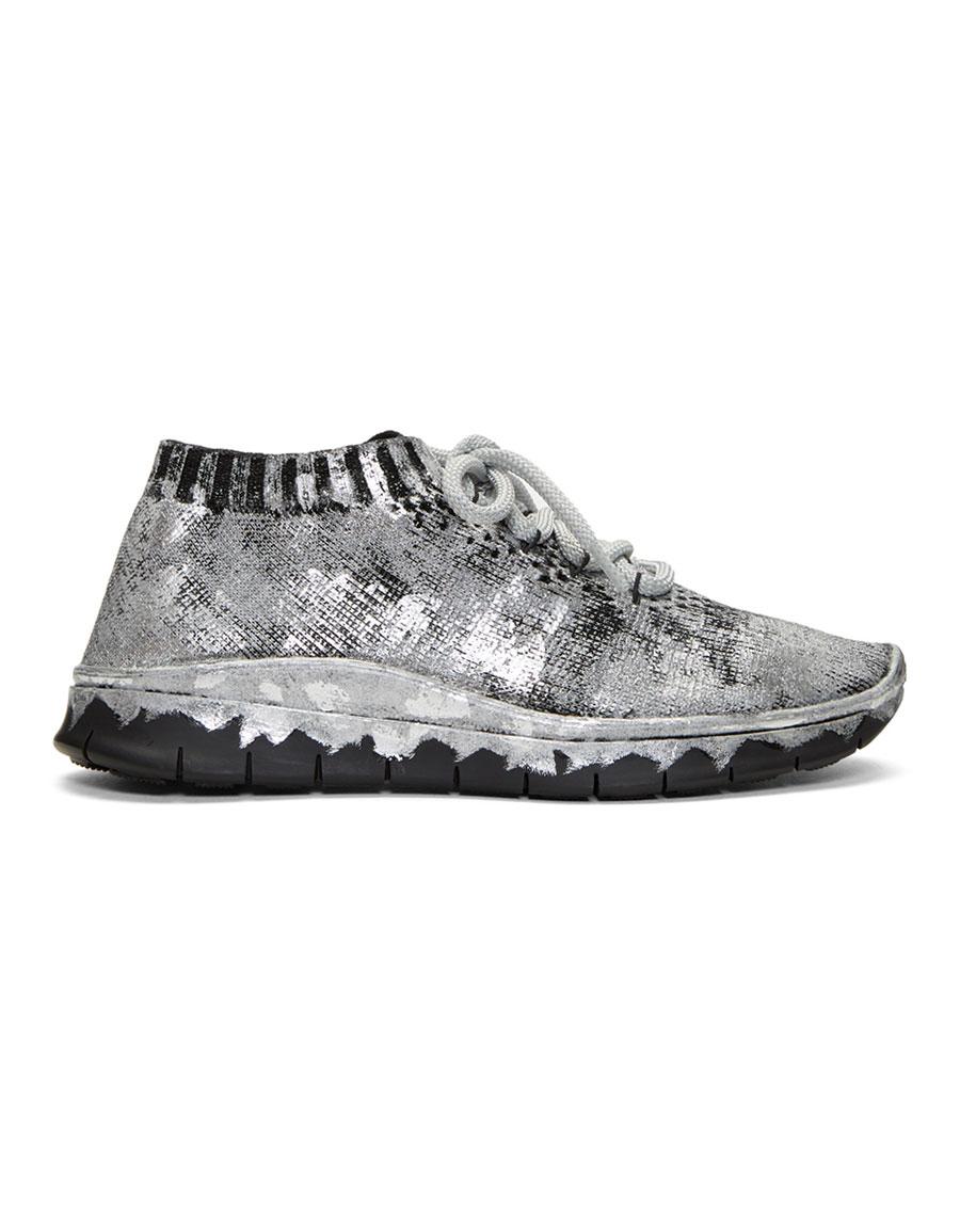 MAISON MARGIELA Black & Silver Painted Knit Sneakers