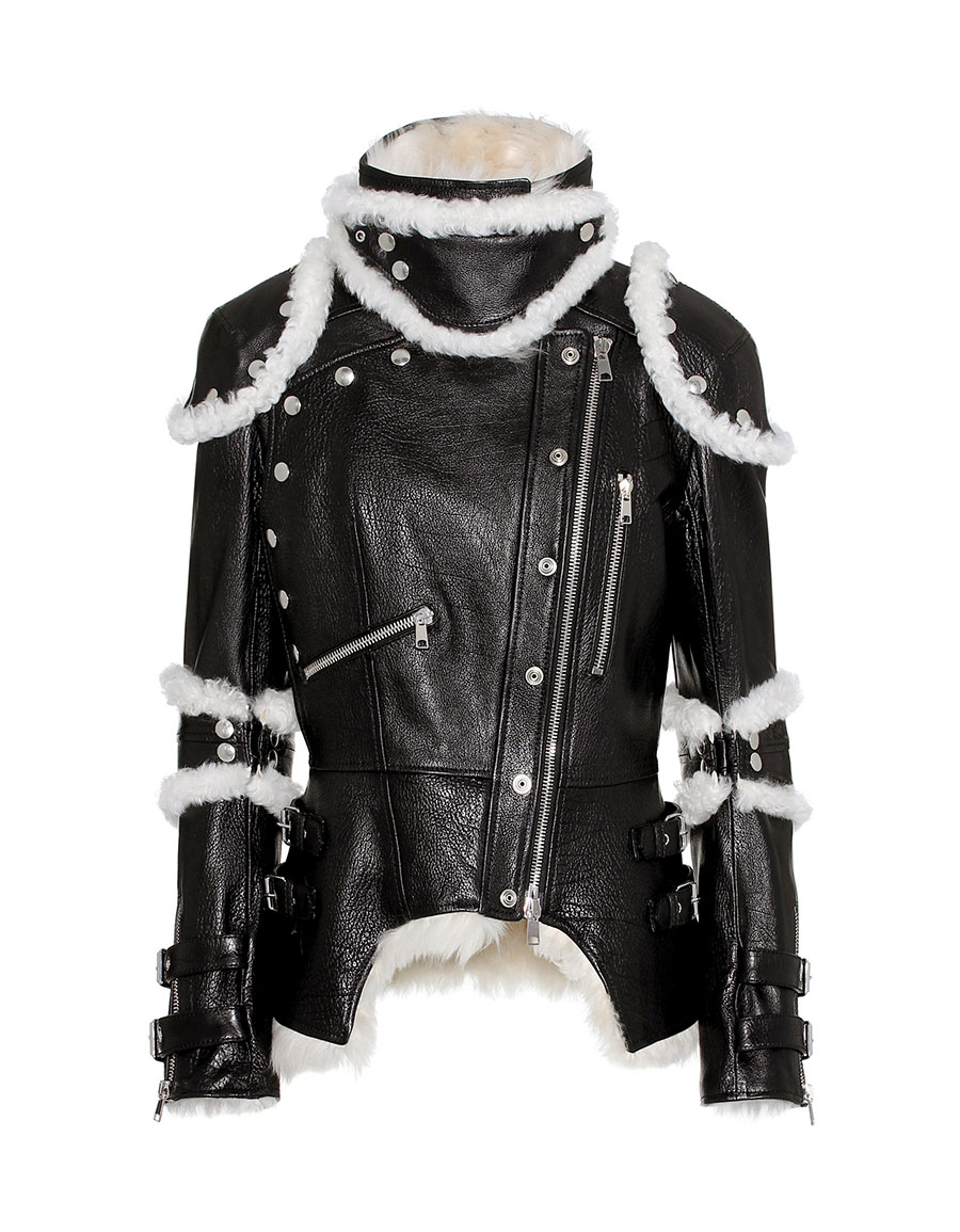 ALEXANDER MCQUEEN Shearling trimmed leather jacket