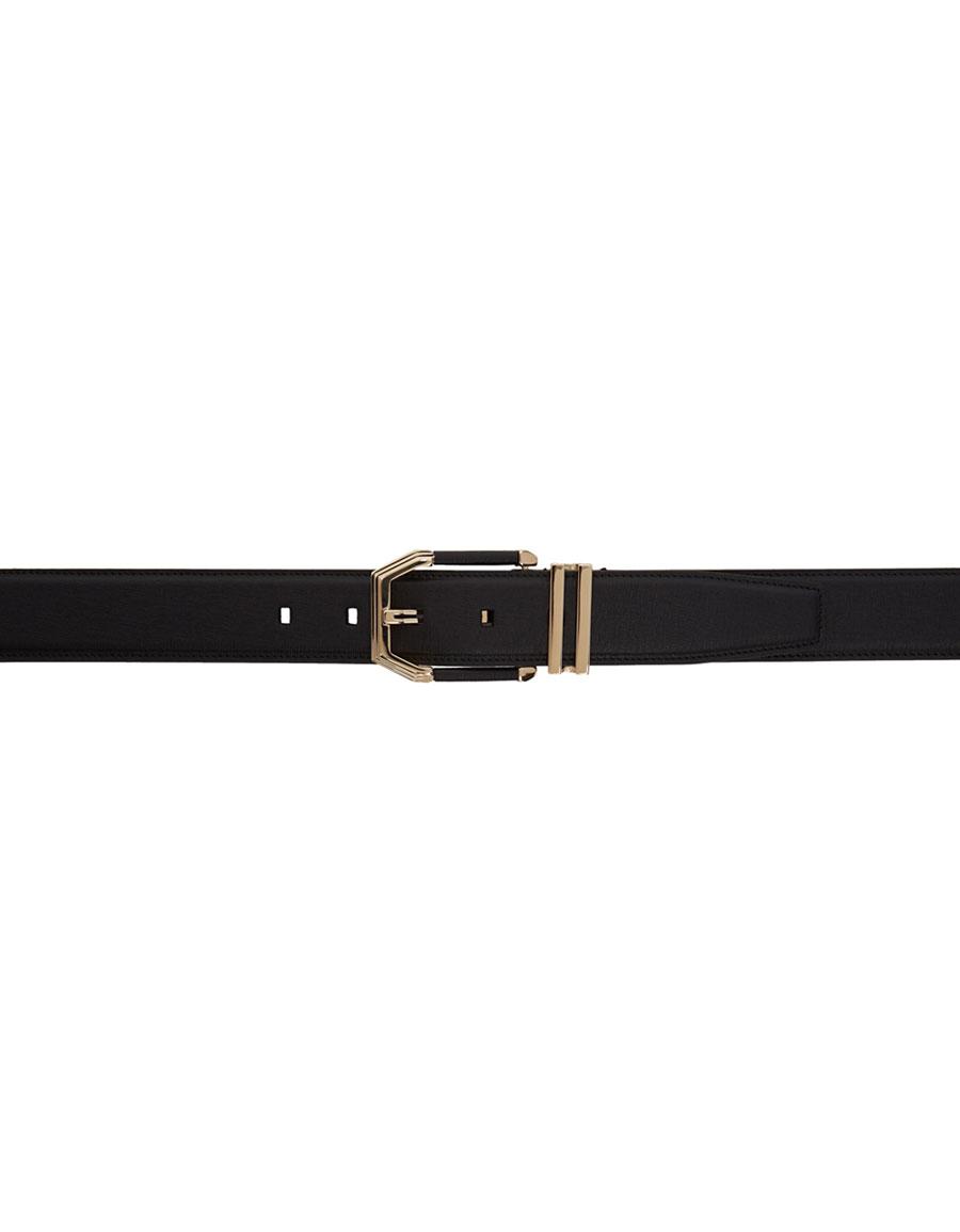 BRIONI Black Leather Belt