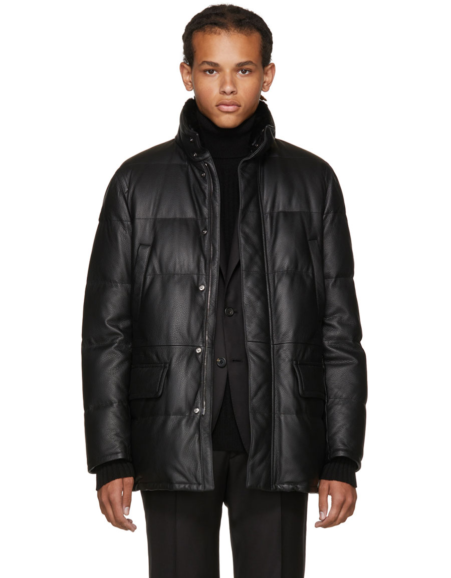 special buy 2019 authentic attractive colour BRIONI, Black Leather Puffer Jacket