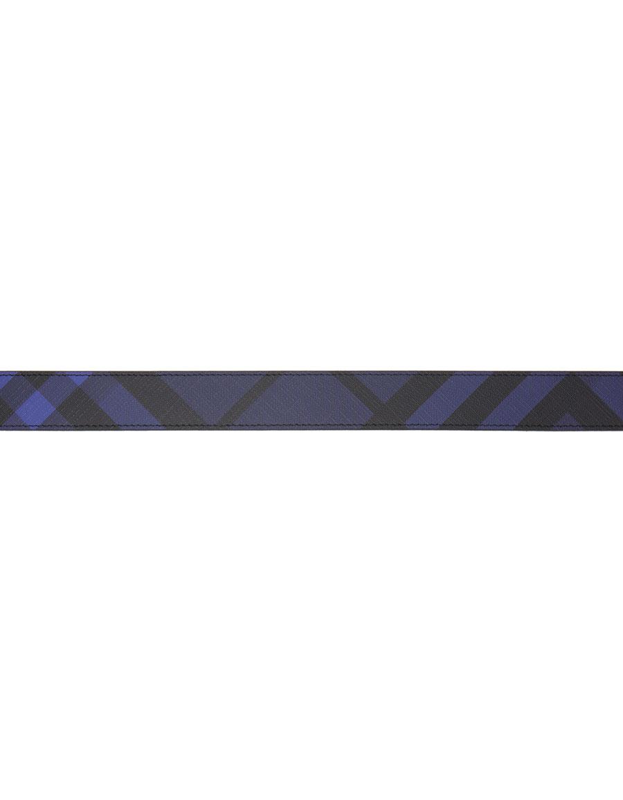 BURBERRY Reversible Blue Check James Belt