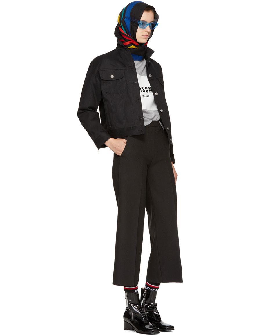MSGM Black Wide Leg Cropped Trousers