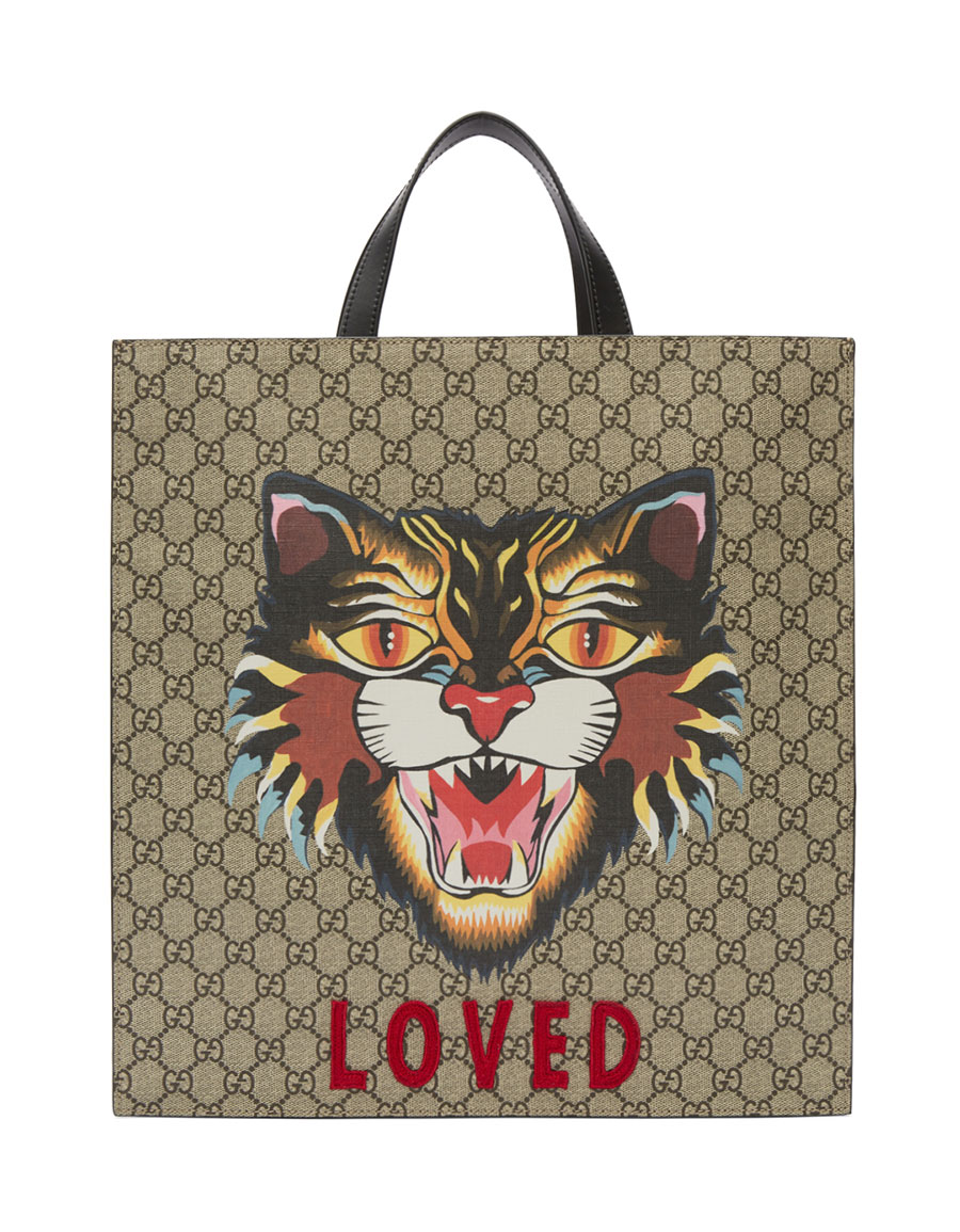 GUCCI Beige 'Loved' Angry Cat Tote