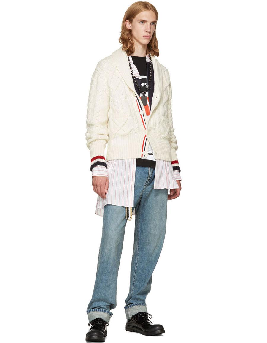 LOEWE White & Red Striped Asymmetric Leather Bib Shirt
