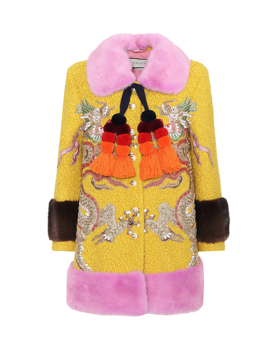 GUCCI Mink fur trimmed wool blend coat