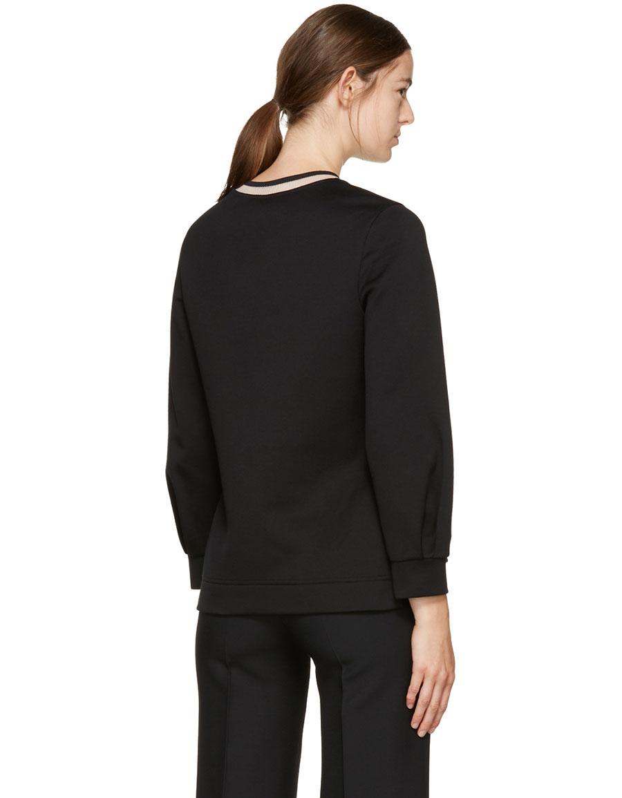 FENDI Black 'Fendi Letters' PomPom Sweatshirt