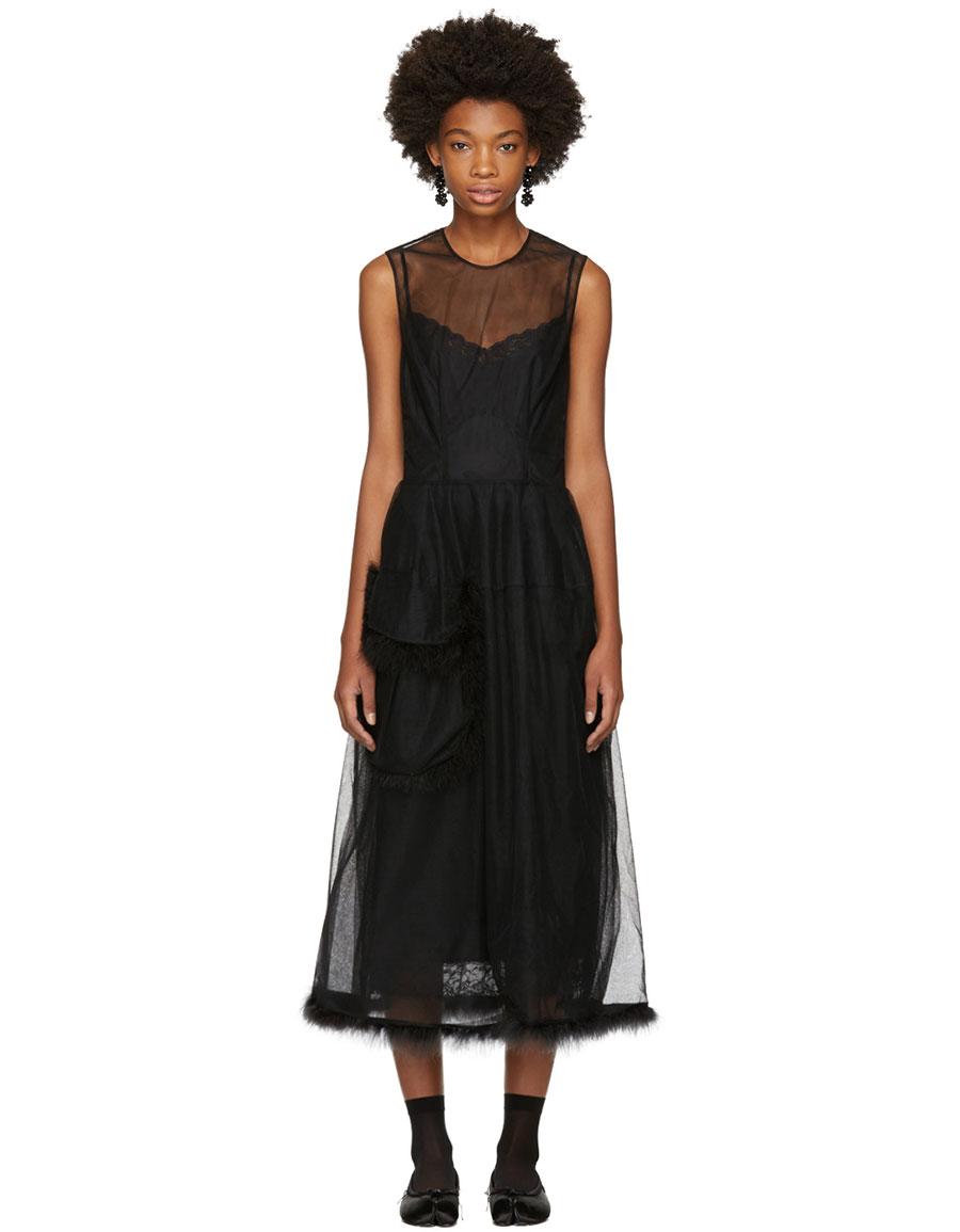 SIMONE ROCHA Black Marabou Tulle Bell Dress