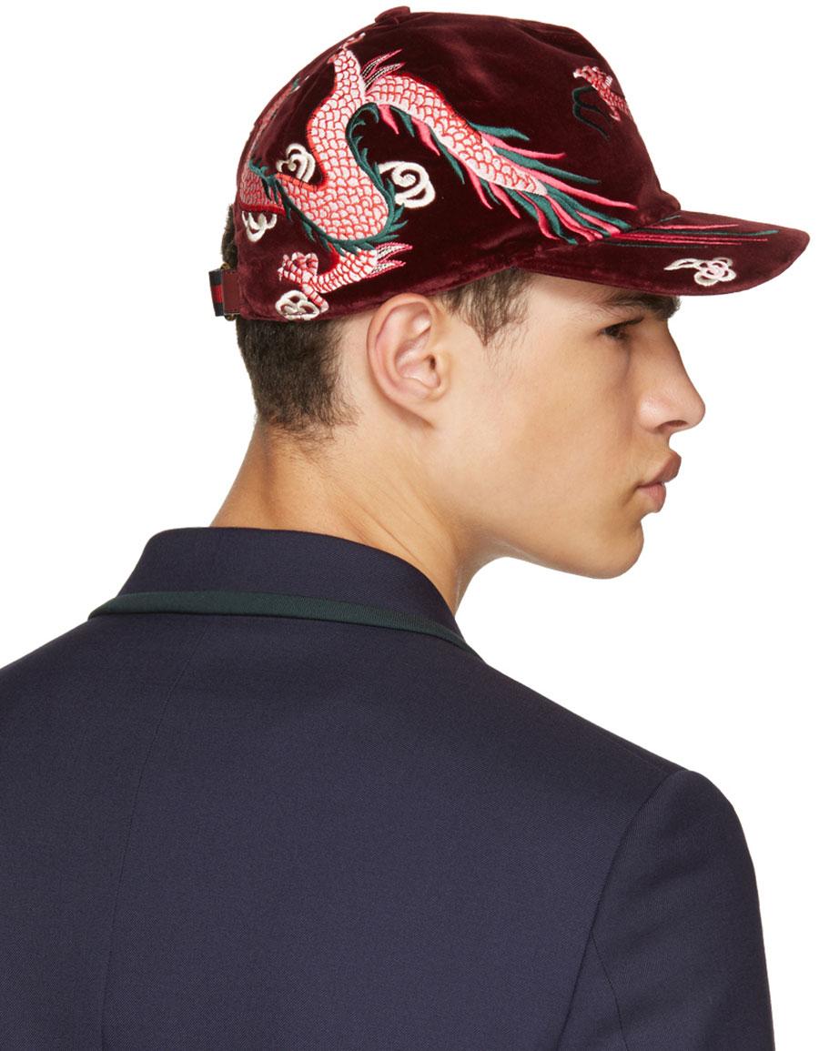 GUCCI Burgundy Velvet Dragon Baseball Cap