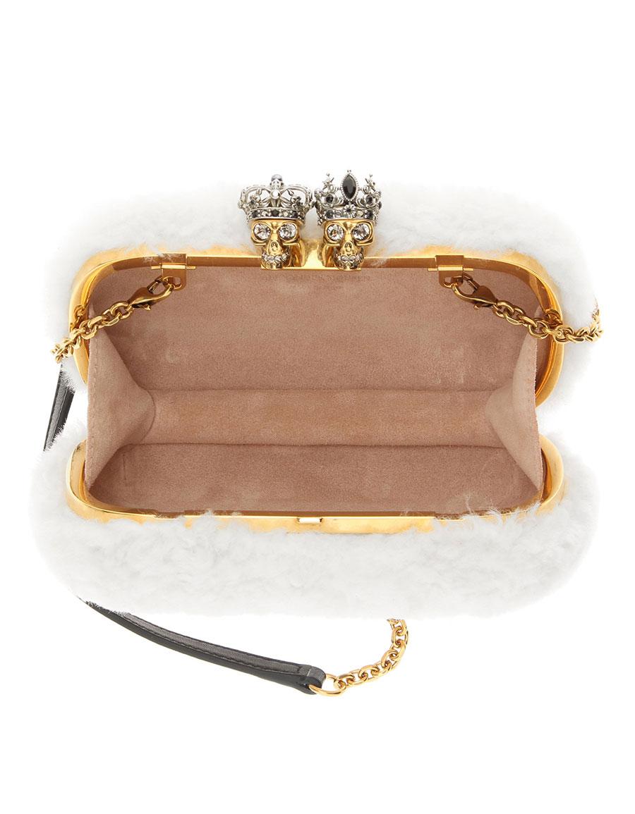 ALEXANDER MCQUEEN Queen & King Skull fur box clutch
