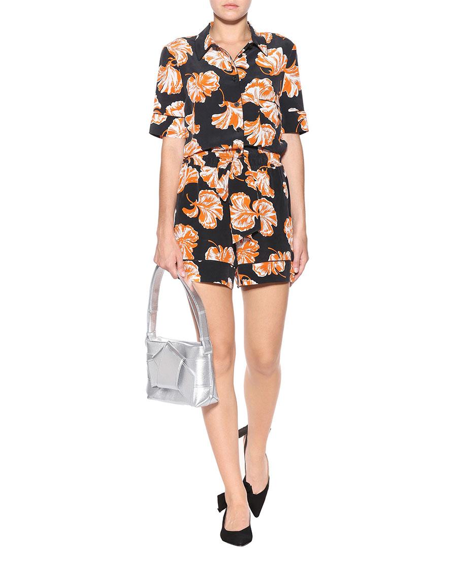 GANNI Geroux floral printed silk shorts