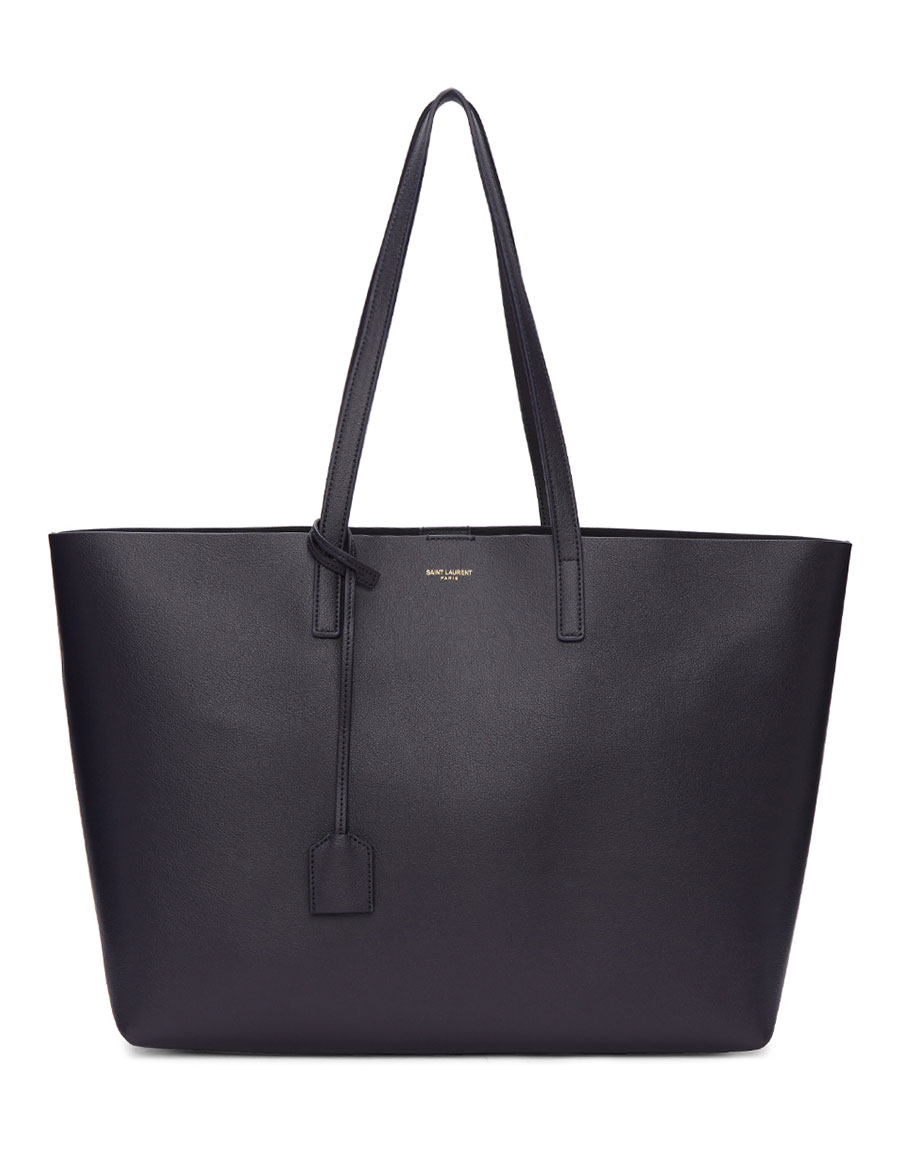 SAINT LAURENT Navy Large East/West Shopping Tote