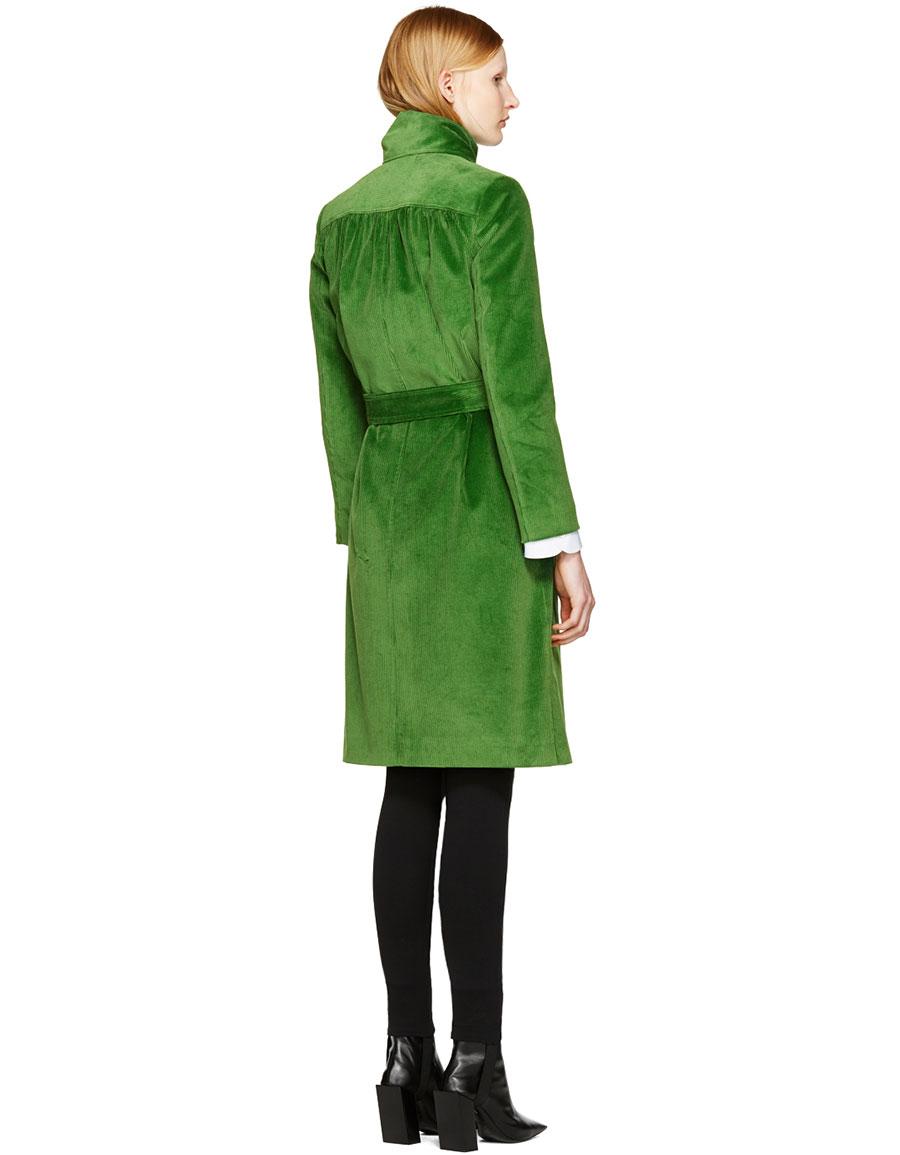 BALENCIAGA Green Velour Scarf Trench Coat
