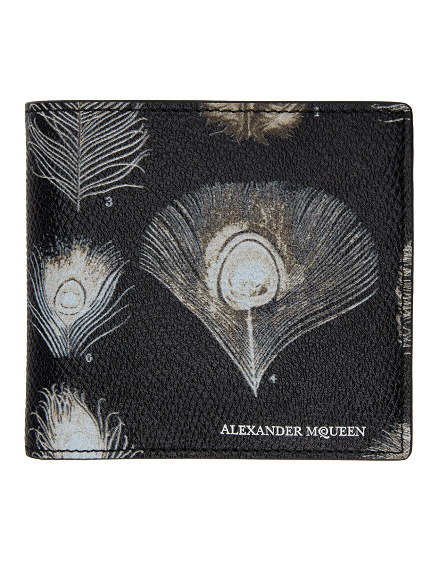 ALEXANDER MCQUEEN Black & Off White Peacock Feather Wallet