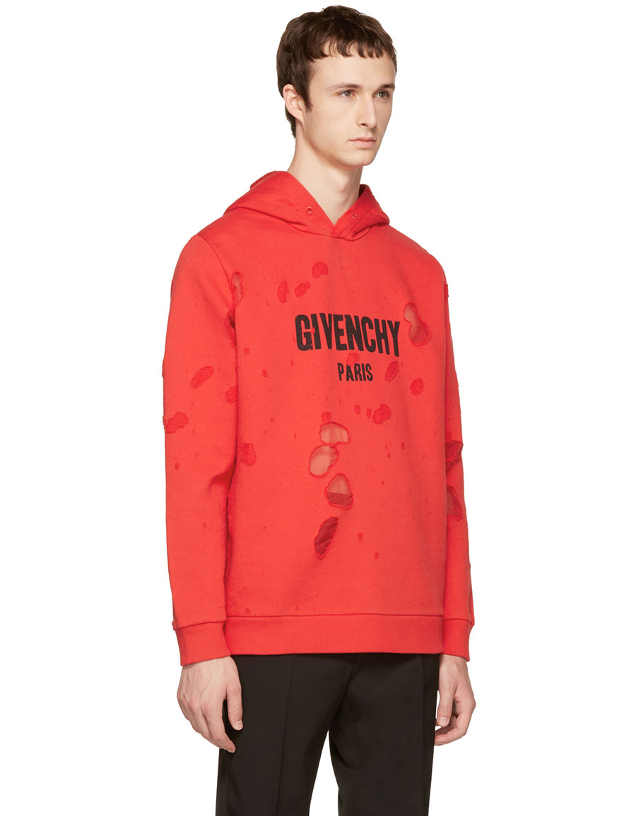 GIVENCHY Red Distressed Logo Hoodie