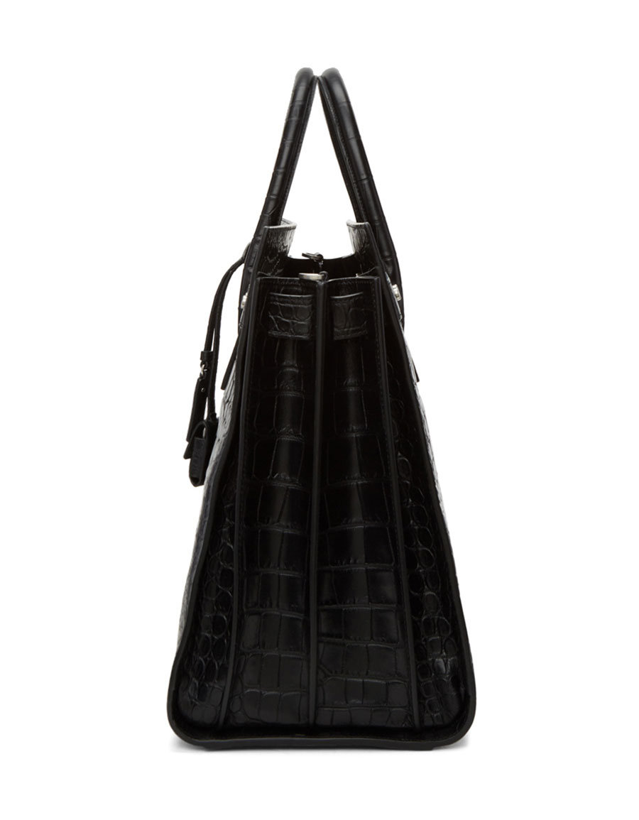 SAINT LAURENT Black Croc Large Sac De Jour Tote