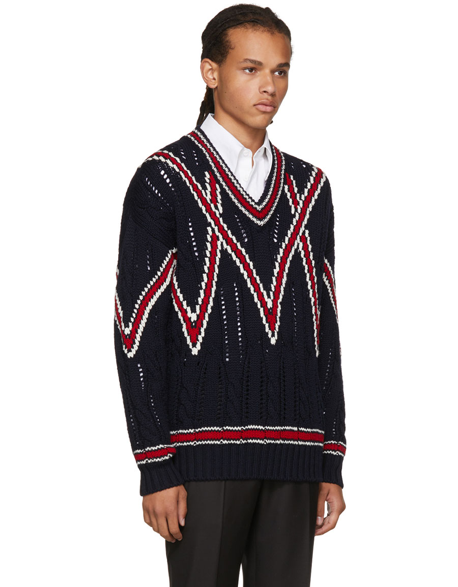 BRIONI Navy Cable Knit V Neck Sweater