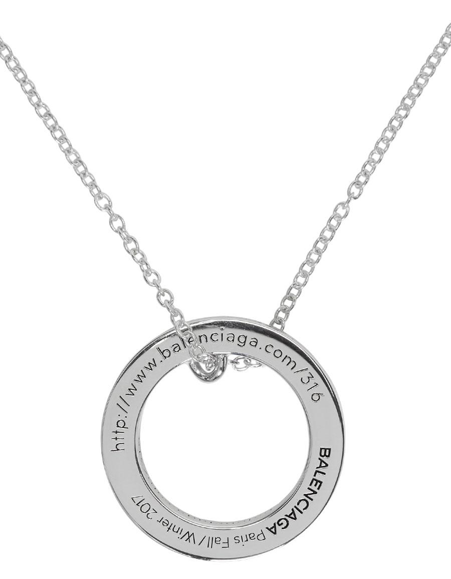 BALENCIAGA Silver URL Ring Necklace