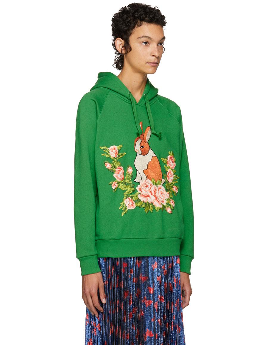 GUCCI Green Oversized Rabbit Hoodie