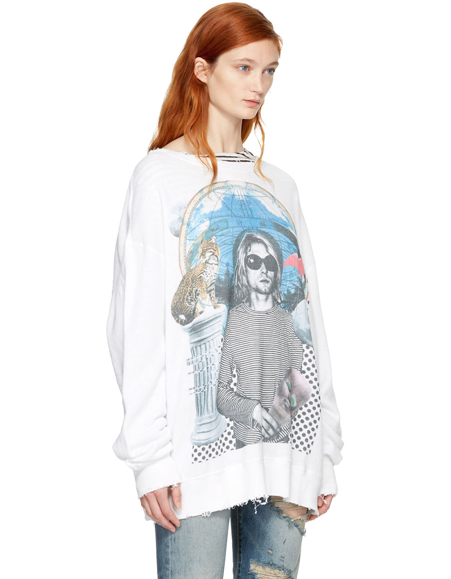 R13 White Kurt Sweatshirt