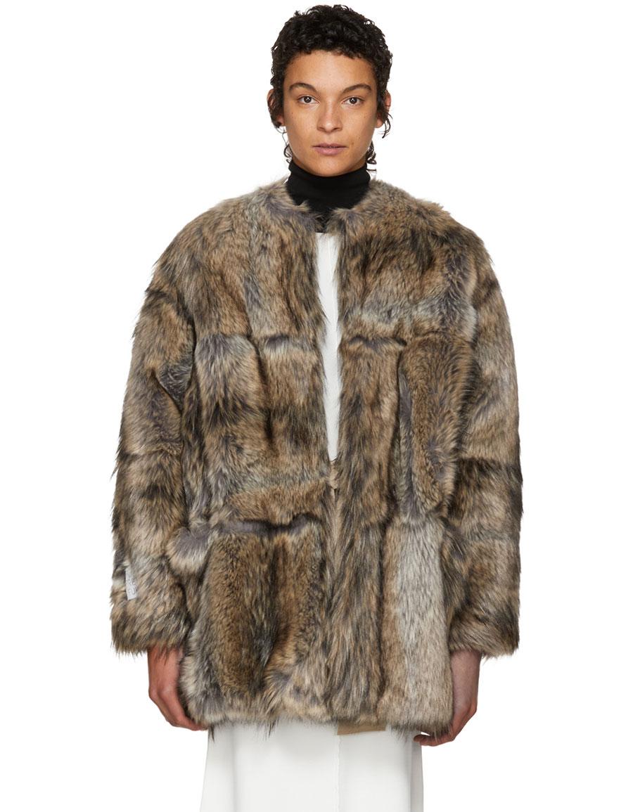 STELLA MCCARTNEY Grey & Beige Faux Fur Elina Coat