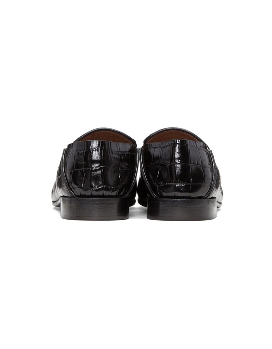 ALUMNAE Black Croc Embossed Garçonne Step Down Loafers