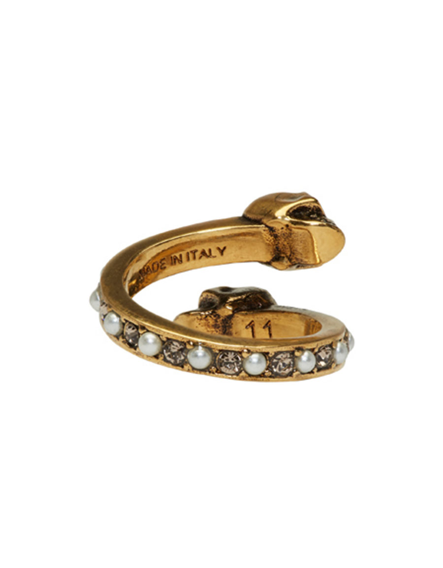 ALEXANDER MCQUEEN Gold Crystal & Pearl Twin Skull Ring