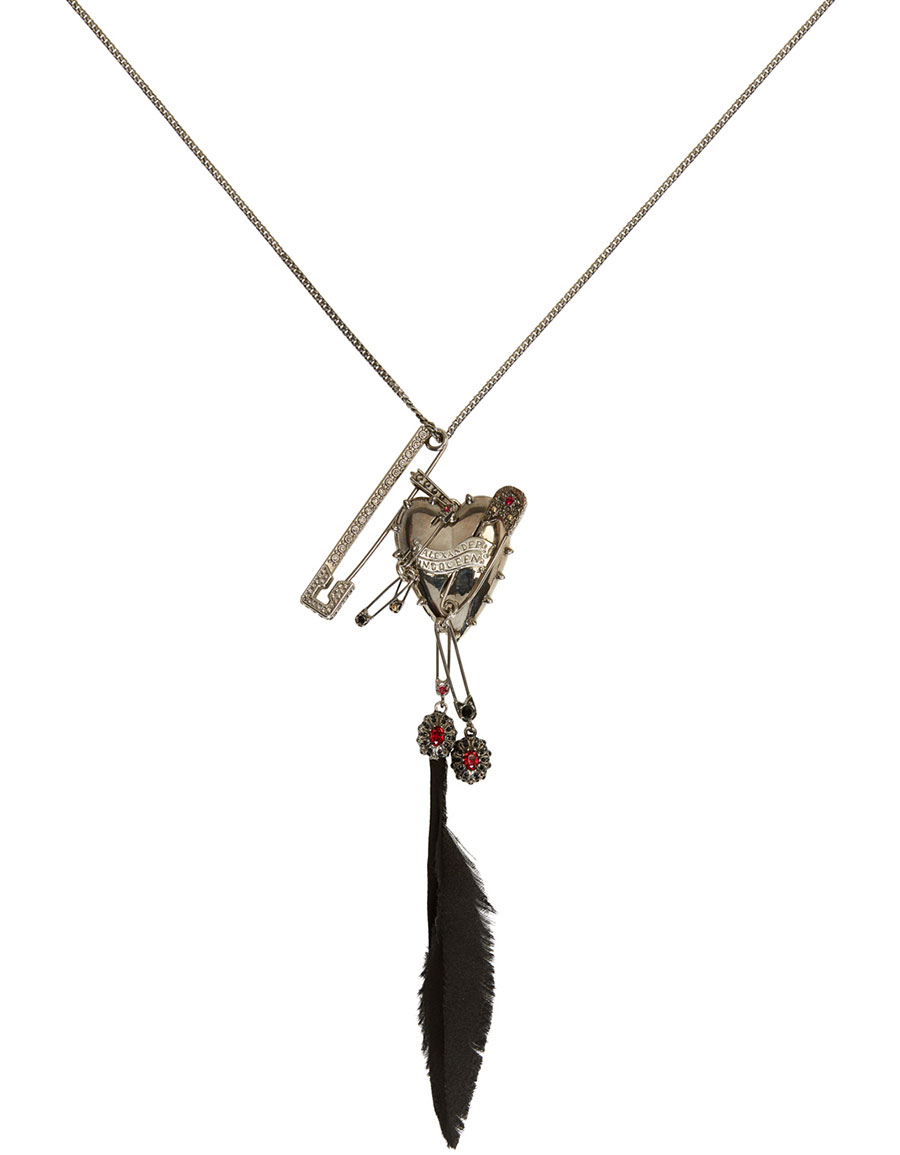 ALEXANDER MCQUEEN Silver Heart & Feather Chain Pendant Brooch
