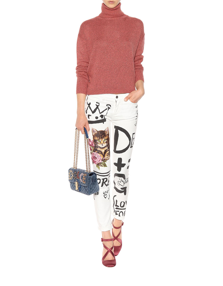 DOLCE & GABBANA Printed cropped jeans