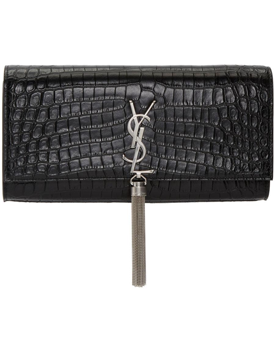SAINT LAURENT Black Croc Monogram Kate Tassel Clutch