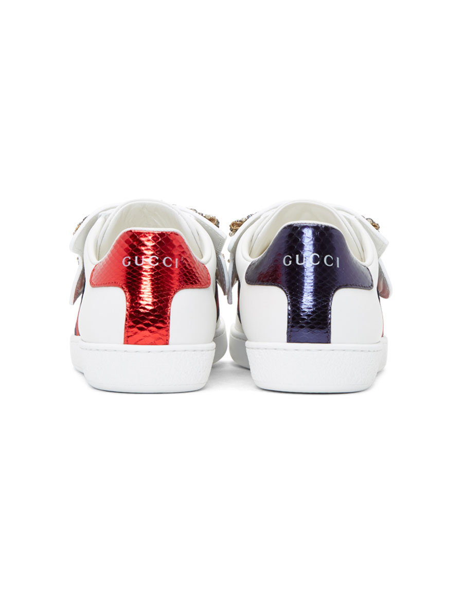 GUCCI White Bow Ace Sneakers
