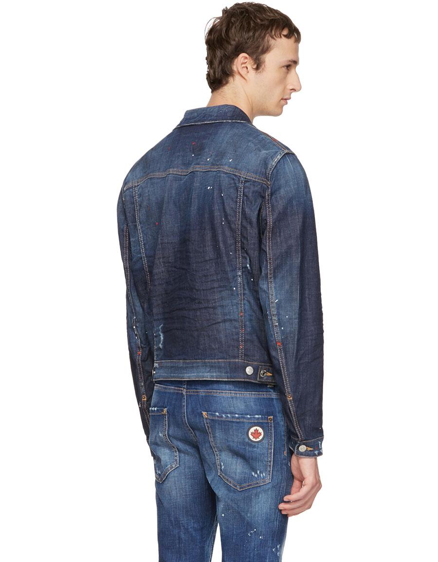 DSQUARED2 Blue Denim Red Spots Jacket