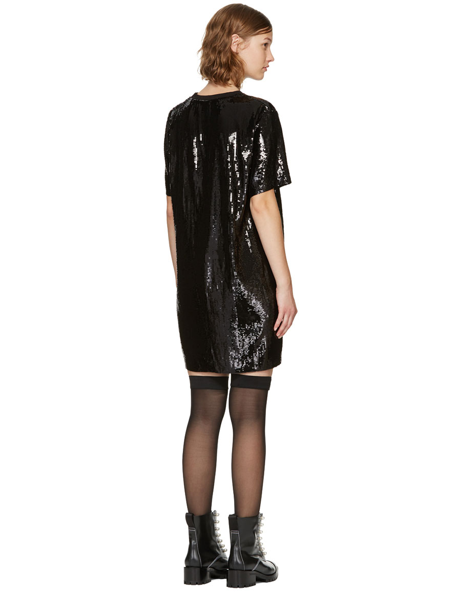 MSGM Black Sequinned Logo Dress